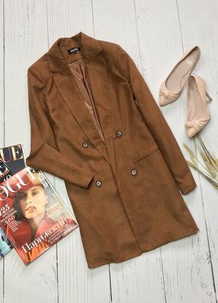 Шикарный удлиненный коричневый пиджак , жакет missguided