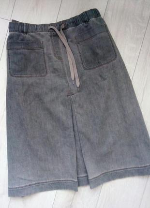 Стильная юбка миди трапеция с кармашками джинсовая