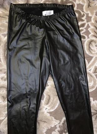 Чёрные кожаные лосины