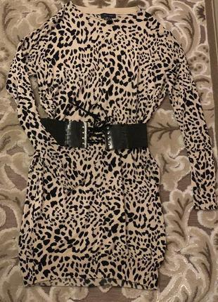 Свитер платье трикотажный леопардовый бежевый
