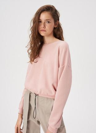 Новая короткая широкая розовая кофта светло-розовый свитшот пудра польша xs s m l xl