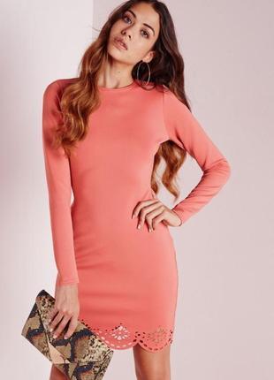 🔥 total sale 🔥 роскошное платье миди с рукавом и перфорацией missguided ms630