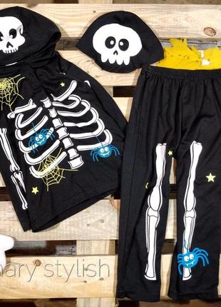 Костюм на хэллоуин скелет  кофта и штаны george унисекс