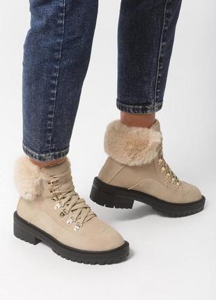 Новые шикарные женские зимние бежевые ботинки