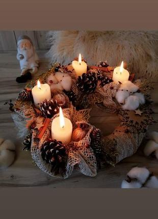 Різдвяна композиція з свічками на стіл