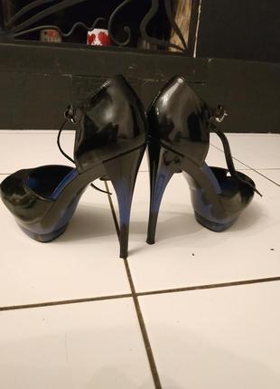Лаковые туфли натуральная кожа кожаные каблук градиент синий