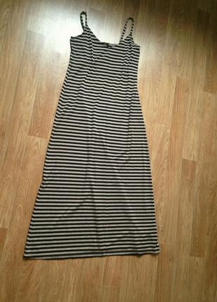Удлиненный просторный плотный трикотажный сарафан полоска длинный макси в пол платье