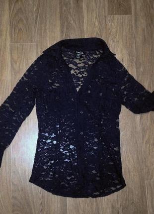 Гипюровая кружевная темная приталенная рубашка блуза navy сексуальна индиго ажурная гепюр