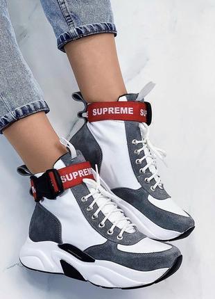 Новые шикарные женские кожаные демисезонные ботинки