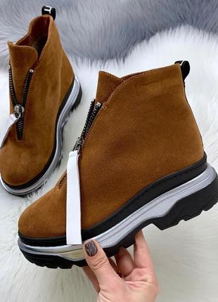 Рр 36-40 зима натуральный замш стильные горчичные ботинки на платформе