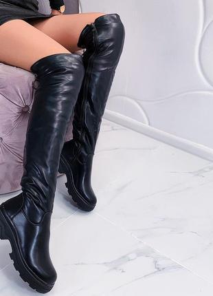 Зимние сапоги ботфорты на низком каблуке, тёплые высокие ботфорты.