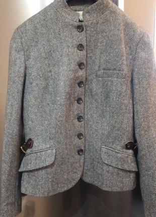 Стильный твидовый(харрис твид)пиджак мандарин