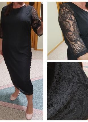 Кружевное черное платье большого размера george