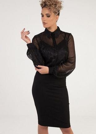 Брендовая черная блуза с длинным рукавом mos mosh люрекс