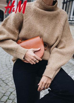 Трендовый теплый свитер оверсайз фасон цвет camel от h&m