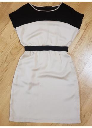 Натуральное короткое платье zara с карманами