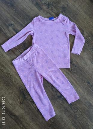 Фирменный костюм для сна на флисе, 1,5 - 2 года