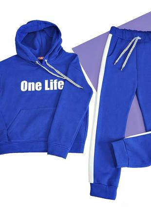 Синий стильный теплый подростковый спортивный костюм на флисе