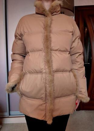 Зимняя куртка-пуховик savage с норковой отделкой