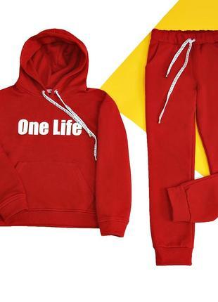 Красный стильный теплый подростковый спортивный костюм на флисе