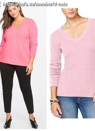 Базовый свитер- пуловер большого размера c v образным вырезом