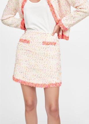 Новая твидовая юбка zara