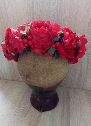 Красный веночек венок с розами веночек с пионами обруч с цветами объемный  венок