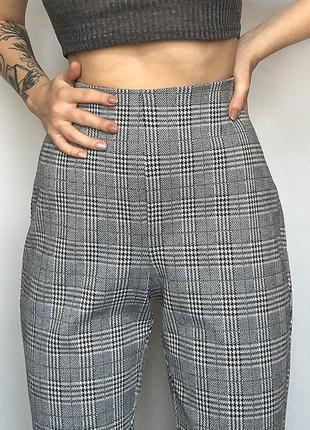 Обалденные зауженные брюки в клетку с высокой посадкой h&m