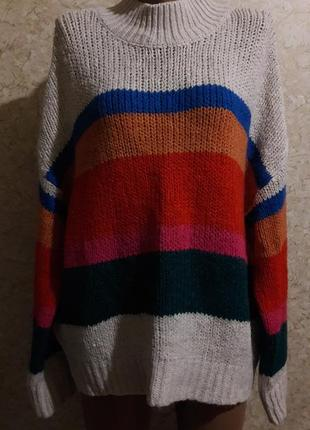 Акция -20% до 25.10 стильный теплый свитер в полоску