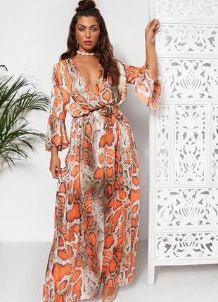 Мегатрендовое платье макси шифон со змеиным принтом the fashion bible англия