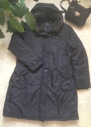 Классная теплая зимняя парка/пальто черного цвета lexus