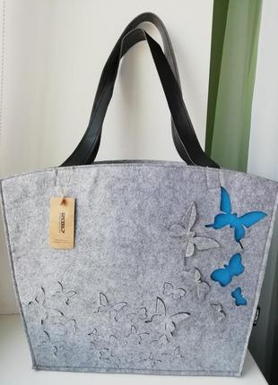 Італійська фірмова шерстяна (войлочна) сумка шоппер 2087!!!