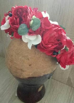 Вінок з трояндами віночок з піонами обруч з квітами весільний вінок вінок до вишиванки