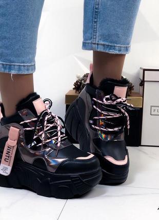 Кроссовки зимние черные на высокой платформе женские