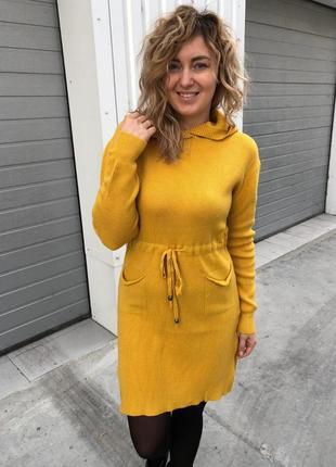 Стильное платье с капюшоном и карманами, л-хл, польша