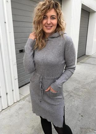 Стильное теплое платье с капюшоном, л-хл, польша