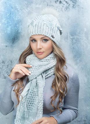 Обаятельный комплект шапка и шарф розанна. помпон нат песец