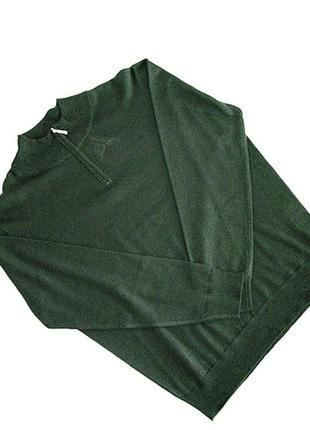 Мужской шерстяной трикотажный темно-зеленый полувер с молнией american.