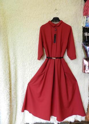✅ красивенное пышное длинное платье с поясом и карманами