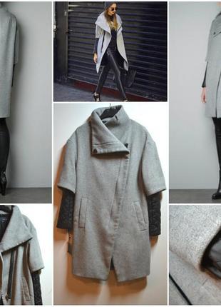 Теплое серое пальто с кожаными рукавами от zara