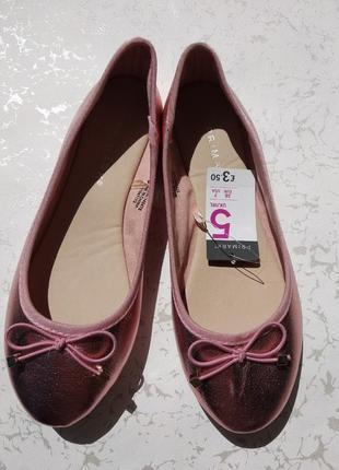 Новые балетки кожзам с эффектом розового металлика 38 размера