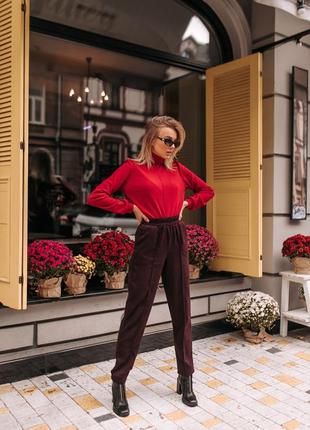 Женский брюки байка костюмка теплые зимние с карманами  зауженные