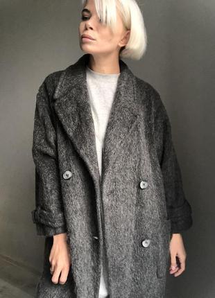 Шикарное длинное шерстяное пальто