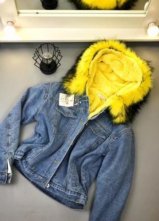 Джинсовая курточка на меху!