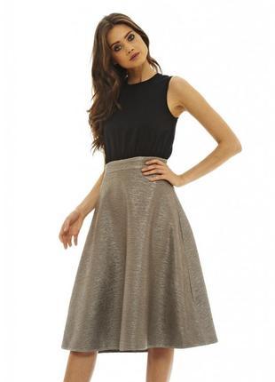Ax paris шикарное платье миди с контрастной юбкой, р.14, наш 48-50