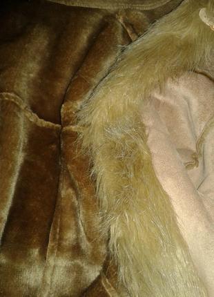 Пальто из искусственного меха песочного цвета,м -l.5