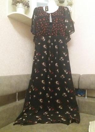Платье макси с цветочным принтом бренд-yumi м на 44\46р