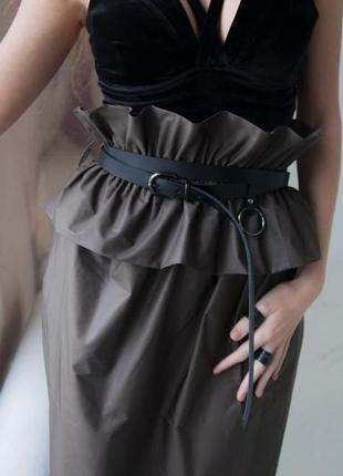Актуальный длинный ремень из 3 частей с кольцом из плотной итальянской кожи