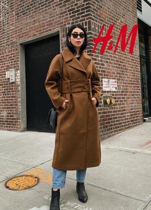 Премиум трендовое пальто с широким поясом итальянская шерсть h&m