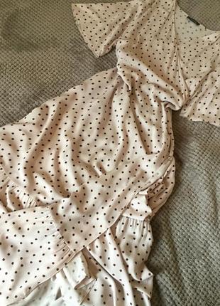Платье пудрового цвета на запах в горошек макси primark размер 14/16